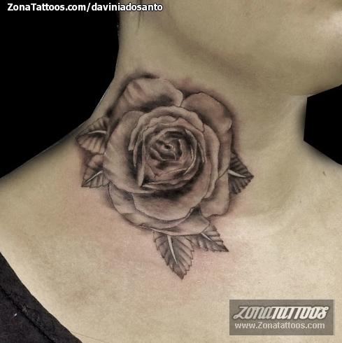 Tatuaje De Flores Rosas Cuello