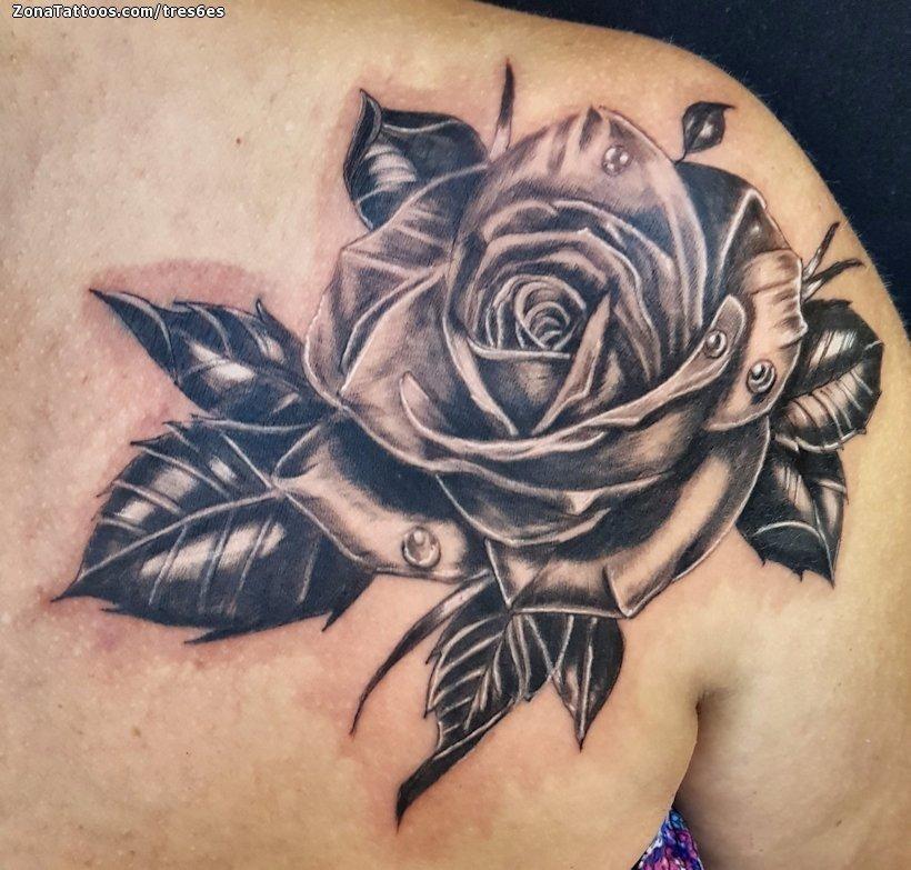 Tatuaje De Rosas Flores Hombro