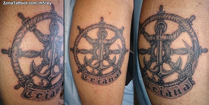 Tatuaje De Timones Anclas