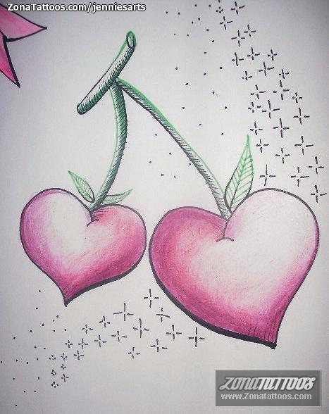 Diseño De Corazones Cerezas