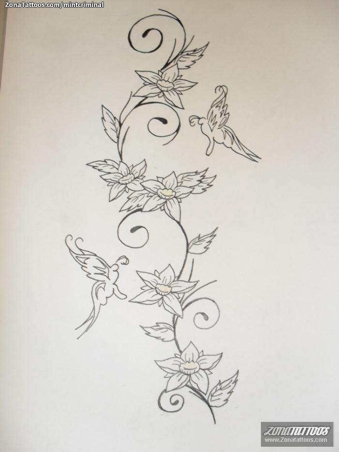 Diseño De Flores Mariposas