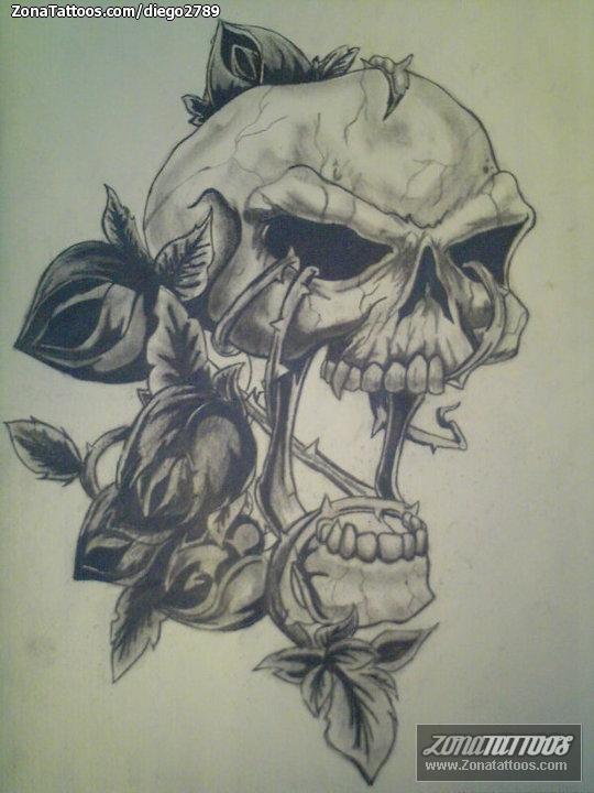 Diseño De Calaveras Rosas Góticos