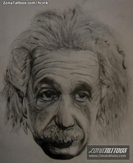 Tattoo Flash Of Albert Einstein People Faces