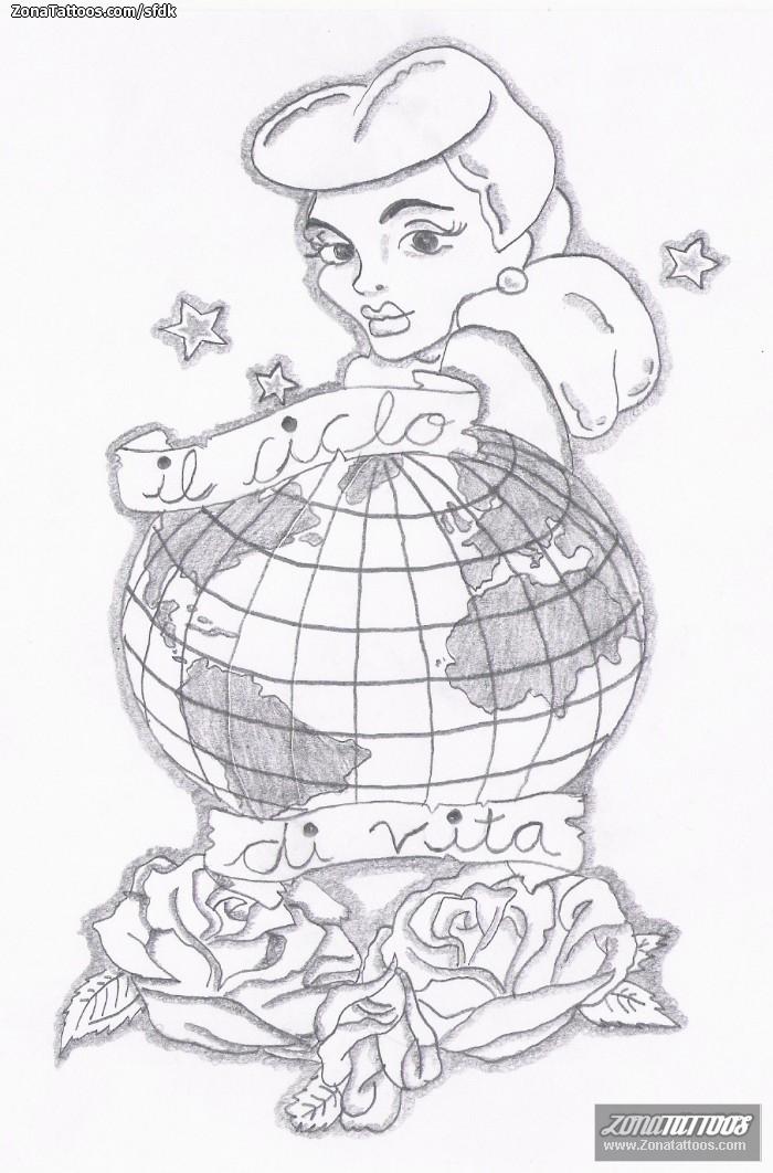 Diseño de Pin-ups, Rosas, Chicas
