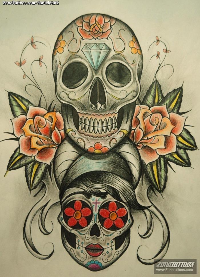 Plantilla/Diseño Tatuaje de DanielOTat2 - Calaveras Rosas Diamantes