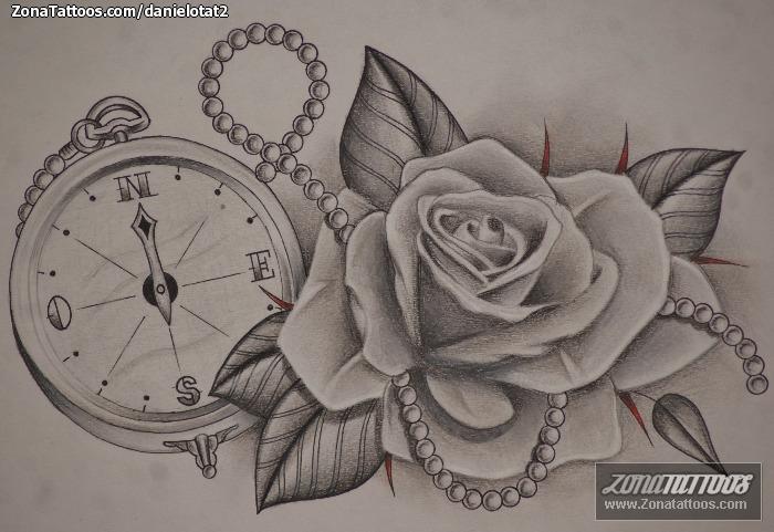 Plantilla/Diseño Tatuaje de DanielOTat2 - Rosas Flores Brújulas