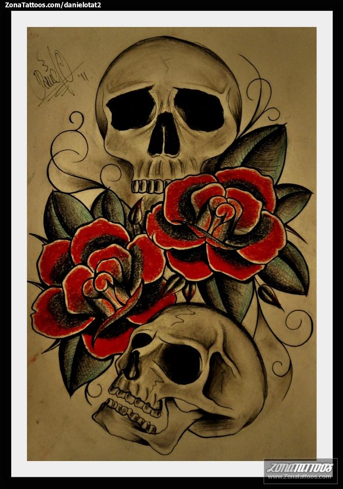 Tattoos De Calaveras Y Rosas