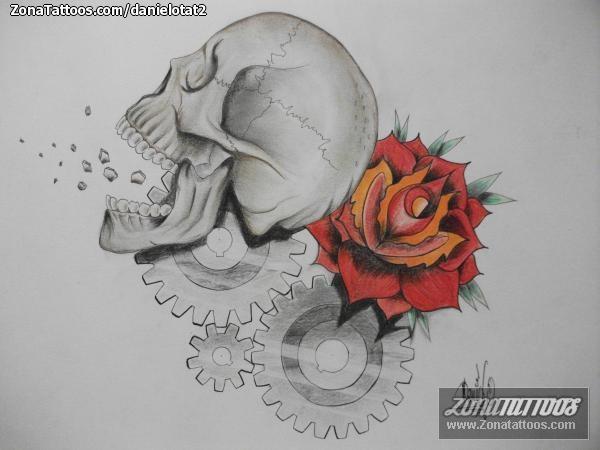 Diseño De Calaveras Rosas Engranajes