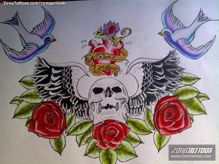 Plantilla/Diseño Tatuaje de rompantodo - Calaveras Rosas Golondrinas