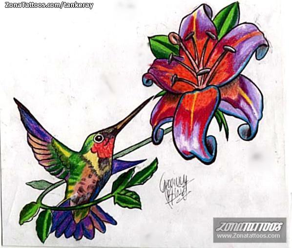 Diseño De Flores Aves Colibríes