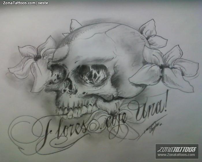Diseño De Calaveras Flores Letras