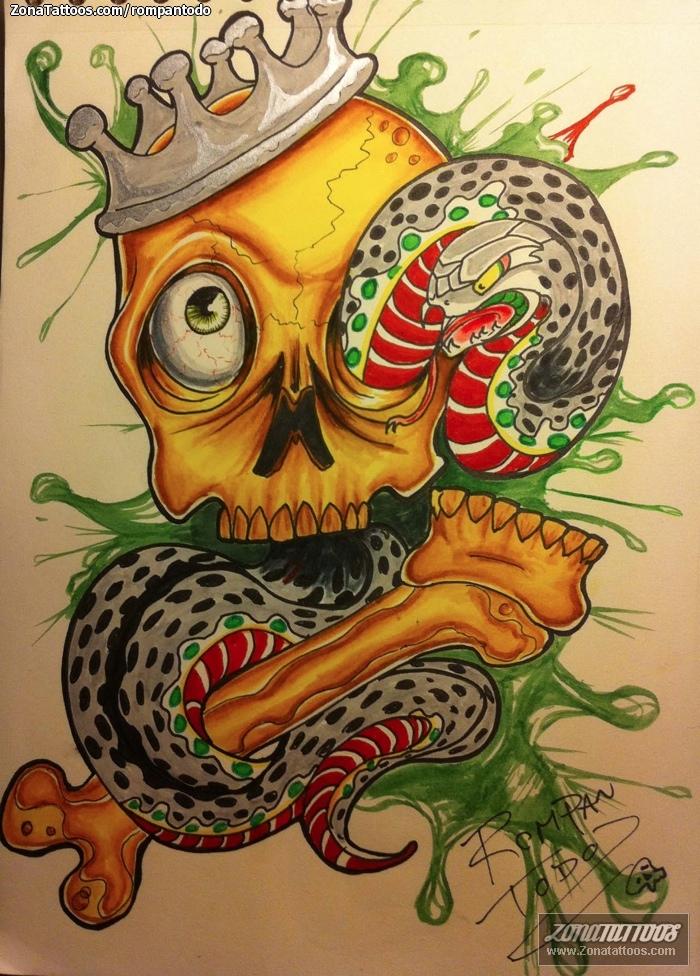Diseo de Calaveras Serpientes Coronas