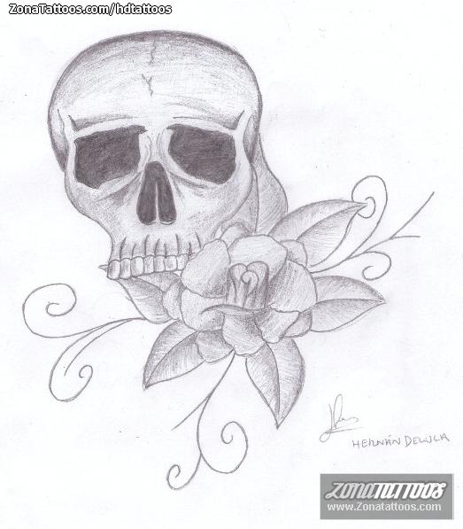 Diseño De Rosas Flores Calaveras
