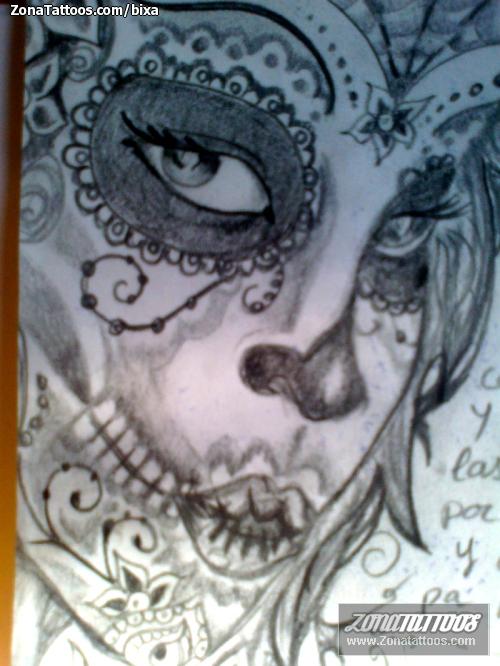 Plantilla/Diseño Tatuaje de bixa - Catrinas