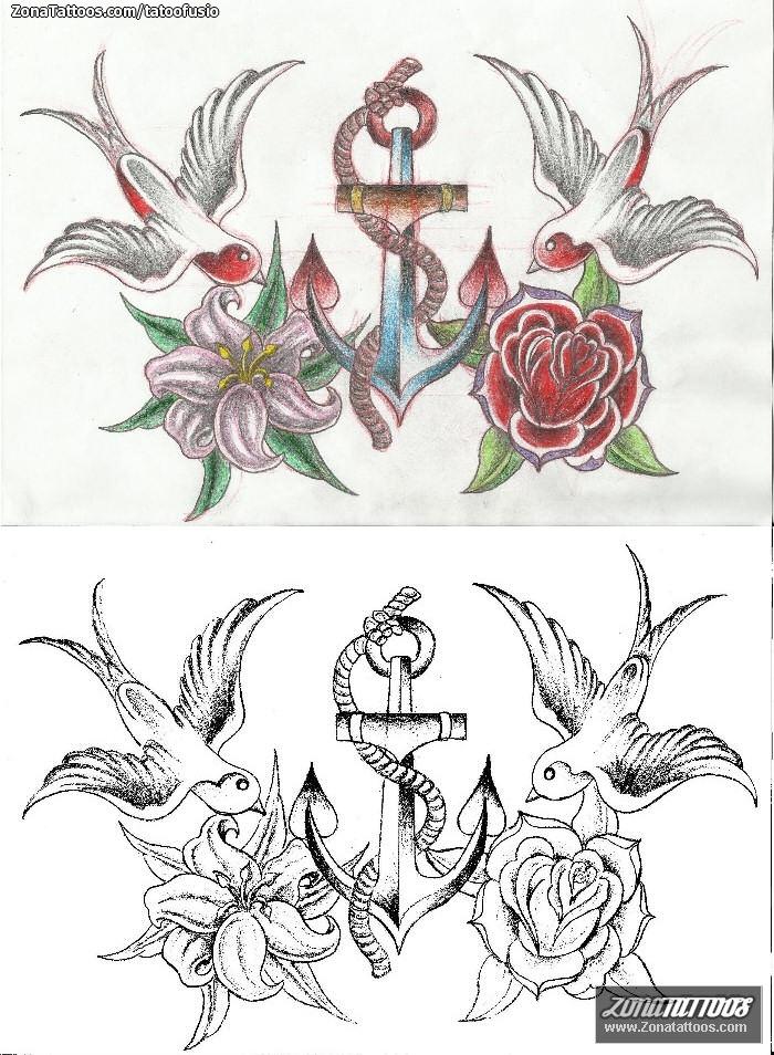 Plantilla Diseno Tatuaje De Tatoofusio Golondrinas Anclas