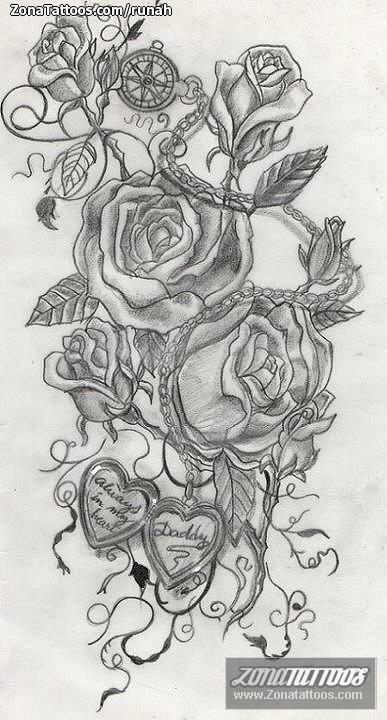 Diseño De Flores Rosas Brújulas