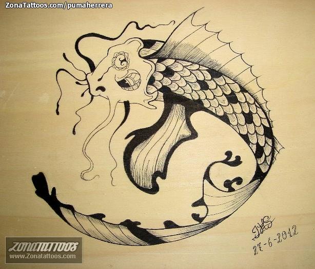plantilla de tatuaje de pez koi imagui