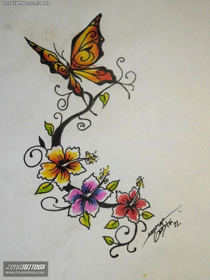 Diseño de Mariposas, Flores, Plantas