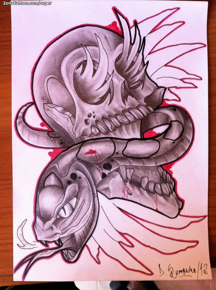 Diseo de Calaveras Serpientes