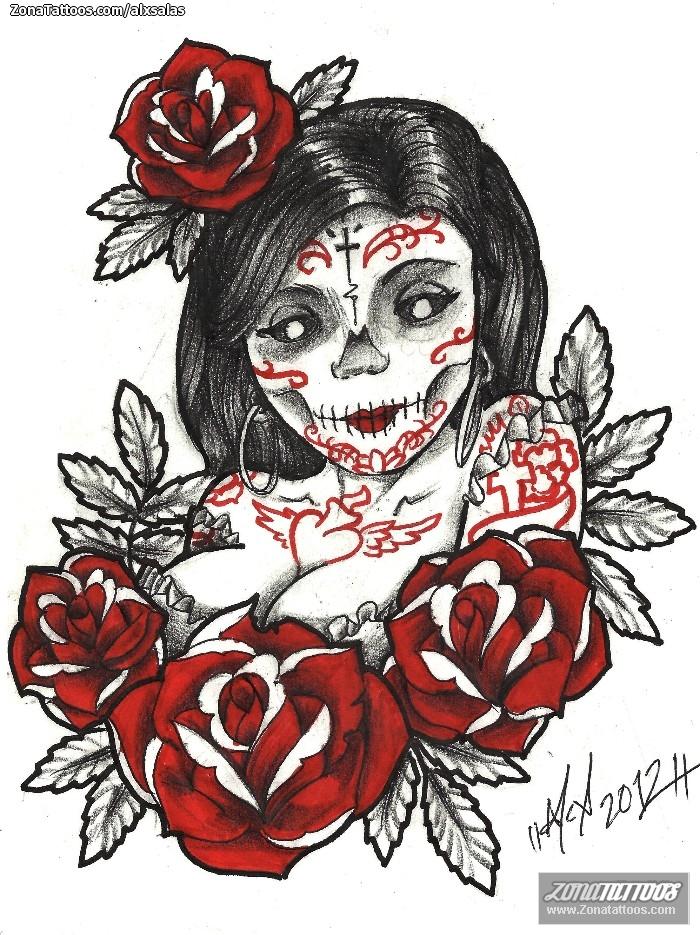 Foto diseño Catrinas, Rosas, Flores