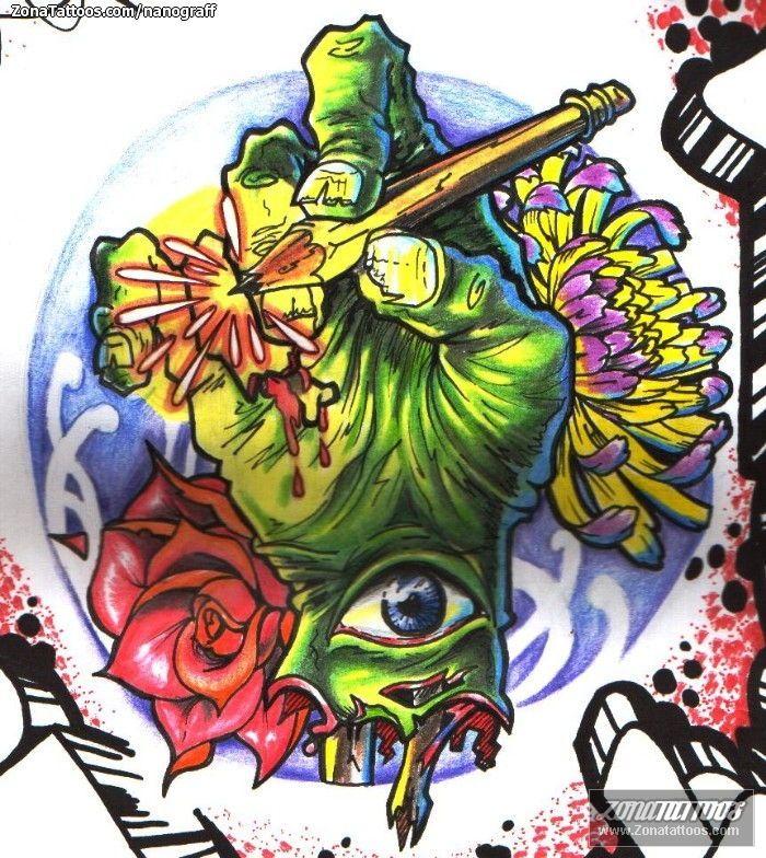 Dise o de zombis ojos manos - Tattoo disenos a color ...