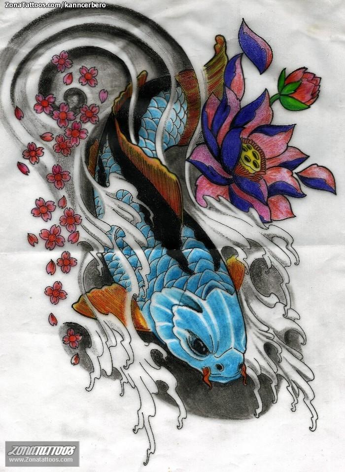 peces koi tatuajes plantillas