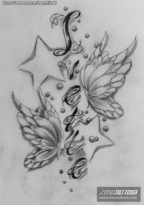 Diseo de Mariposas Estrellas Letras