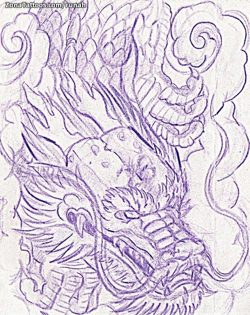 Diseño De Dragones Orientales