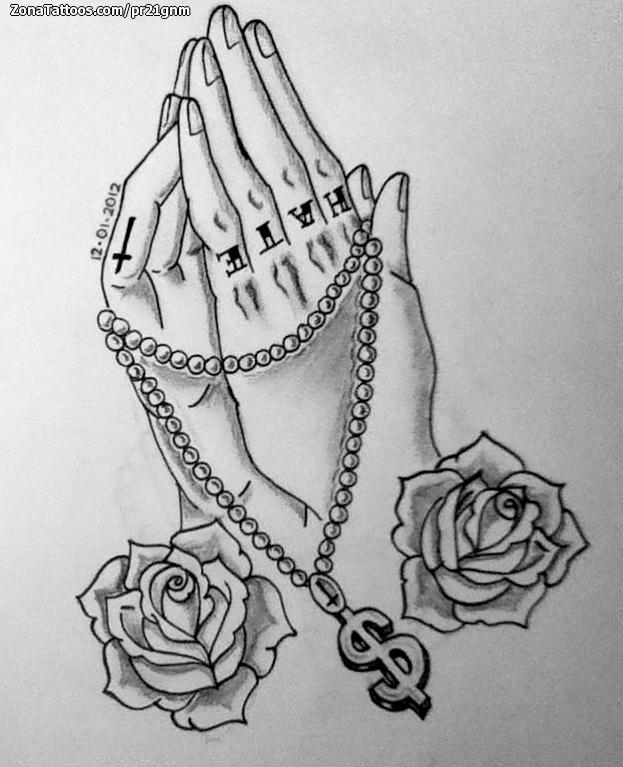 Plantilla/Diseño Tatuaje de PR21GNM - Rosas Cruces Manos