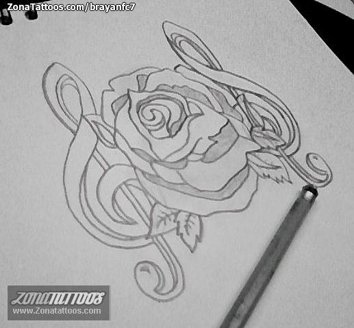 Diseño De Flores Notas Musicales Rosas