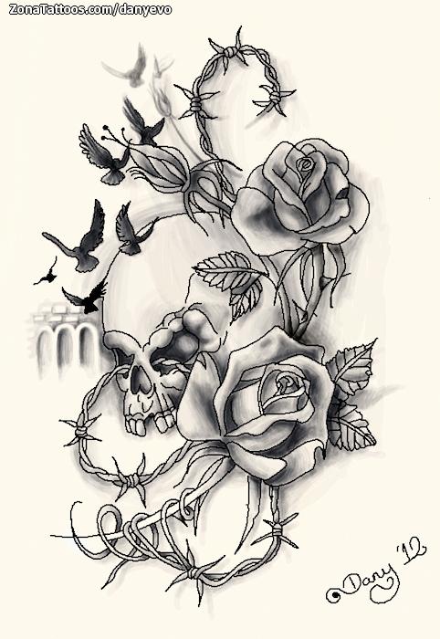 Plantilla/Diseño Tatuaje de DanyEvo - Flores Calaveras Rosas