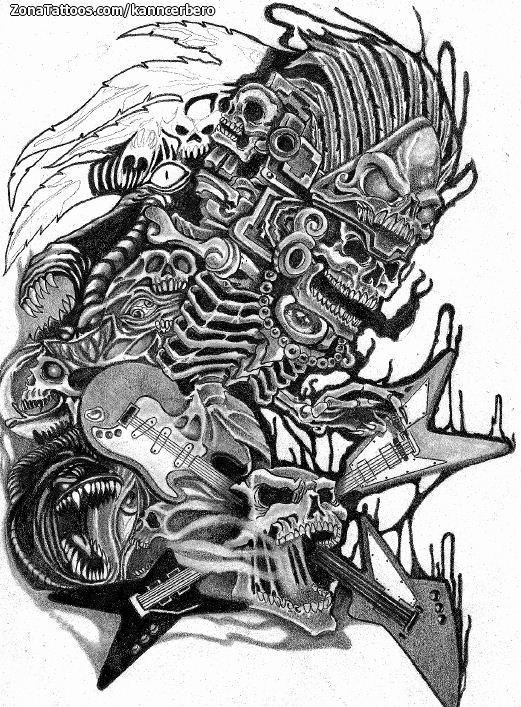 Diseño De Aztecas Guitarras
