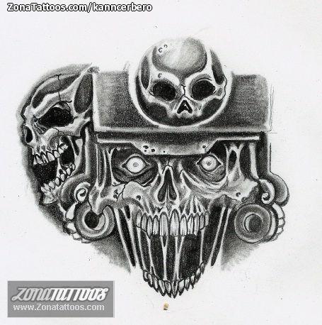 Plantilla/Diseño Tatuaje de kanncerbero - Aztecas Calaveras