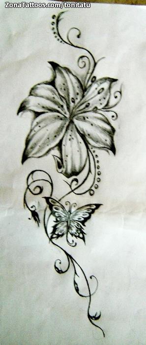 Diseño De Mariposas Enredaderas Flores