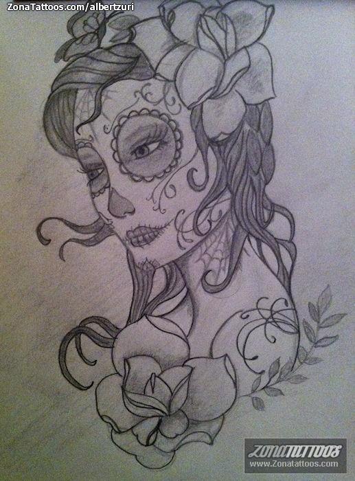 Plantilla/Diseño Tatuaje de AlbertZuri - Catrinas Flores