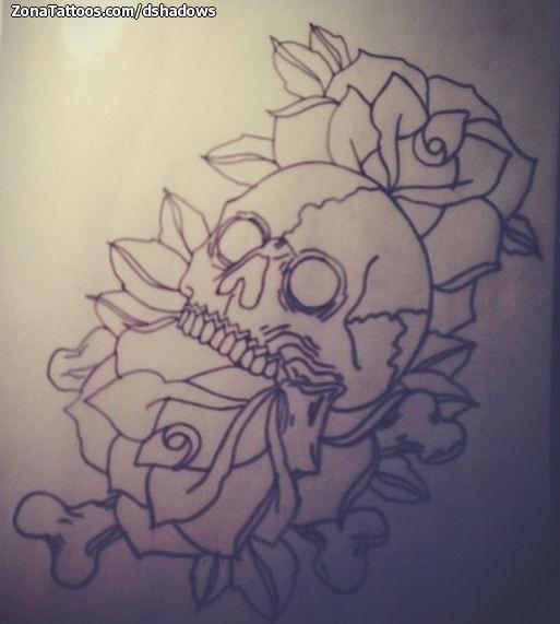 Diseño De Calaveras Rosas Flores