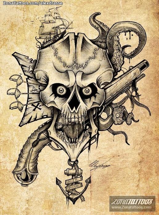 Diseño De Piratas Calaveras Armas
