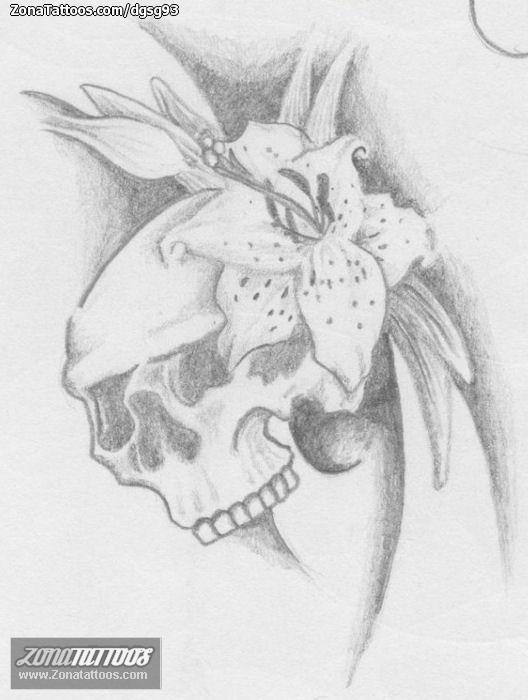 Tattoo Flash Of Skulls Flowers