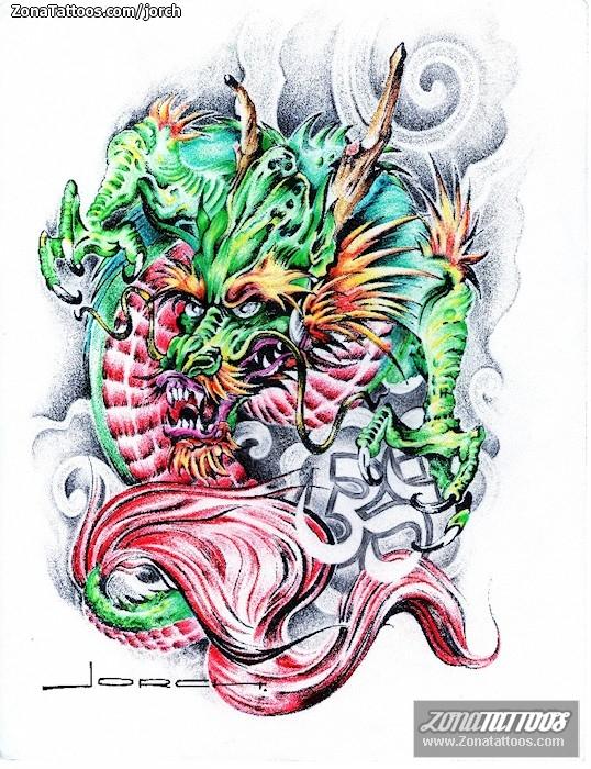 Dise o de dragones orientales - Tattoo disenos a color ...