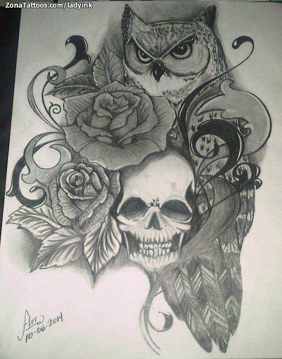 Plantilla/Diseño Tatuaje de LadyInk - Flores Calaveras Animales