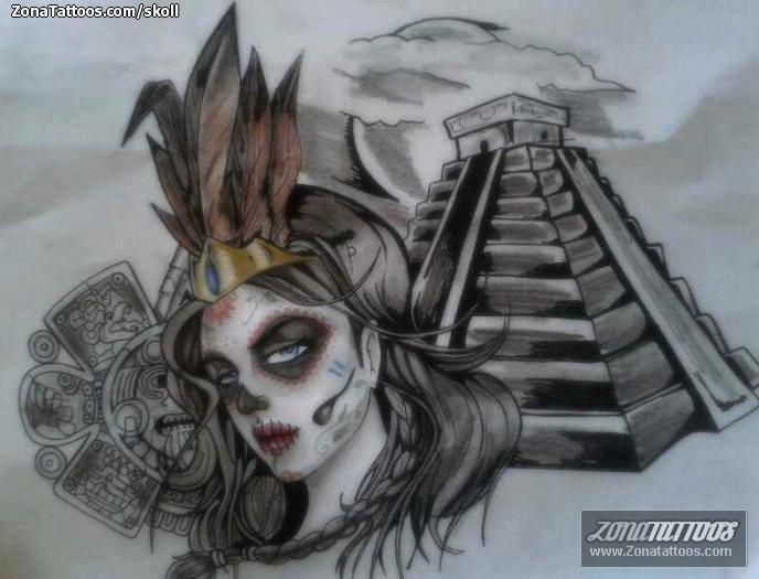 Diseño De Catrinas Aztecas