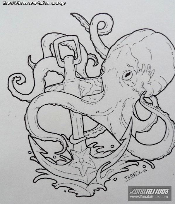 Plantilla/Diseño Tatuaje de tadeo_arango - Pulpos Anclas Animales