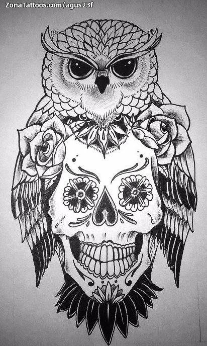 Diseño De Búhos Aves Sugar Skull