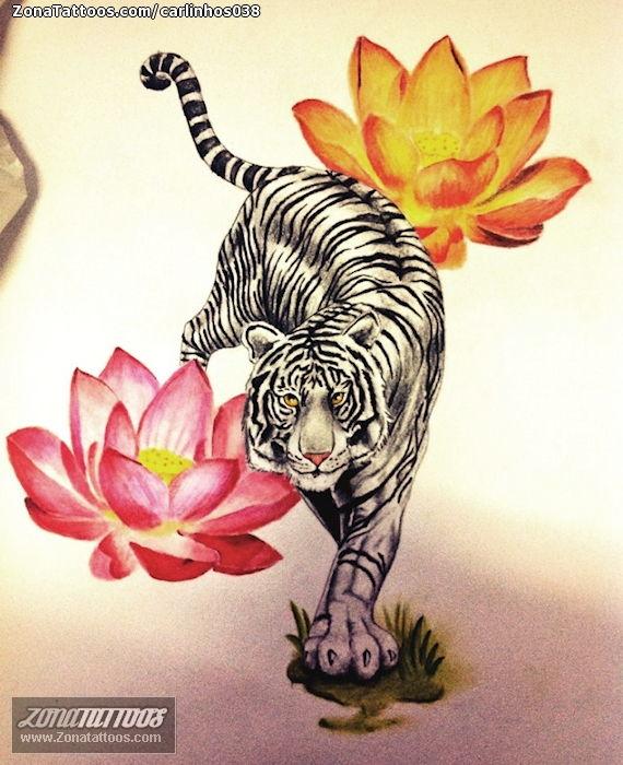 Tattoo Flash Of Tigers Flowers Lotus