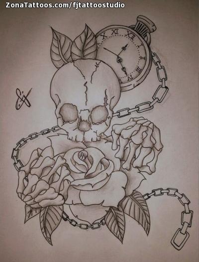 Diseño De Calaveras Rosas Relojes