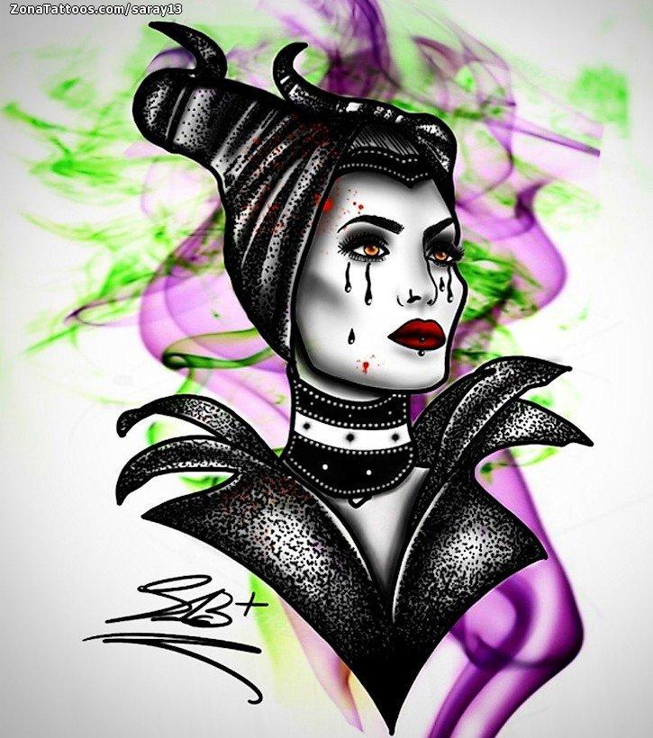 Tattoo Flash Of Maleficent Movies Fairytales