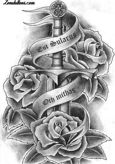 Galera De Fotos E Imgenes Tatuajes De Rosas Y Espadas