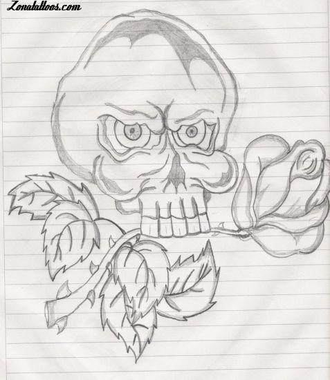 Dibujo Calaveras Con Rosas