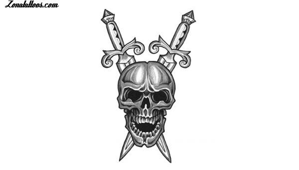 Diseño De Calaveras Dagas Armas