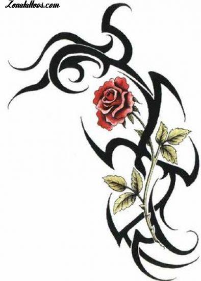 Dise o de tribales flores rosas - Dibujos tribales para tatuar ...